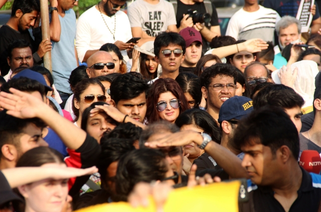 Twinkle Khanna was also present among the crowd of protestors.