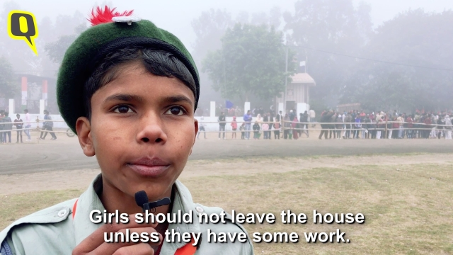 He studies in Class 8, and thinks that women are better off staying at home.