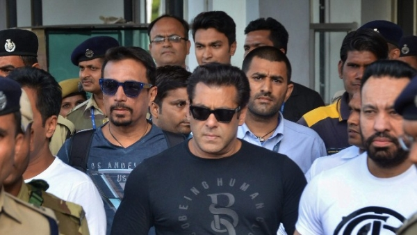 Film actor Salman Khan leaves from Jodhpur airport to appear in the chief judicial magistrate court in the 1998 Blackbuck hunting case, in Jodhpur on Wednesday.