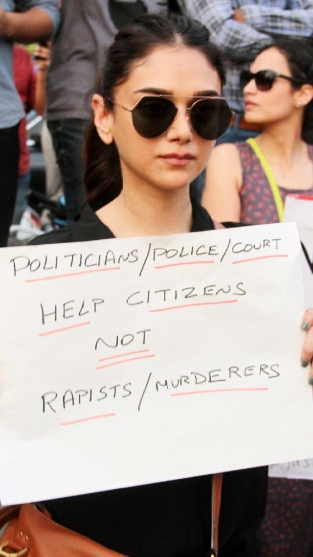 Aditi Rao Hydari in a protest against Kathua and Unnao rape cases in Bandra, Mumbai.