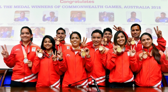 Tejaswini Sawant, Jitu Rai, Heena Sidhu, along with other Commonwealth Games medal winning shooters at a press conference in New Delhi on 17 April.