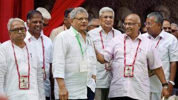 CPI(M) general secretary Sitaram Yechury, Kerala Chief Minister Pinarayi Vijayan, CPI(M) politburo member Prakash Karat and other leaders attend the 5-day long 22nd Congress of the CPI(M) at RTC Kalyana Mandapam in Hyderabad on 25 April.