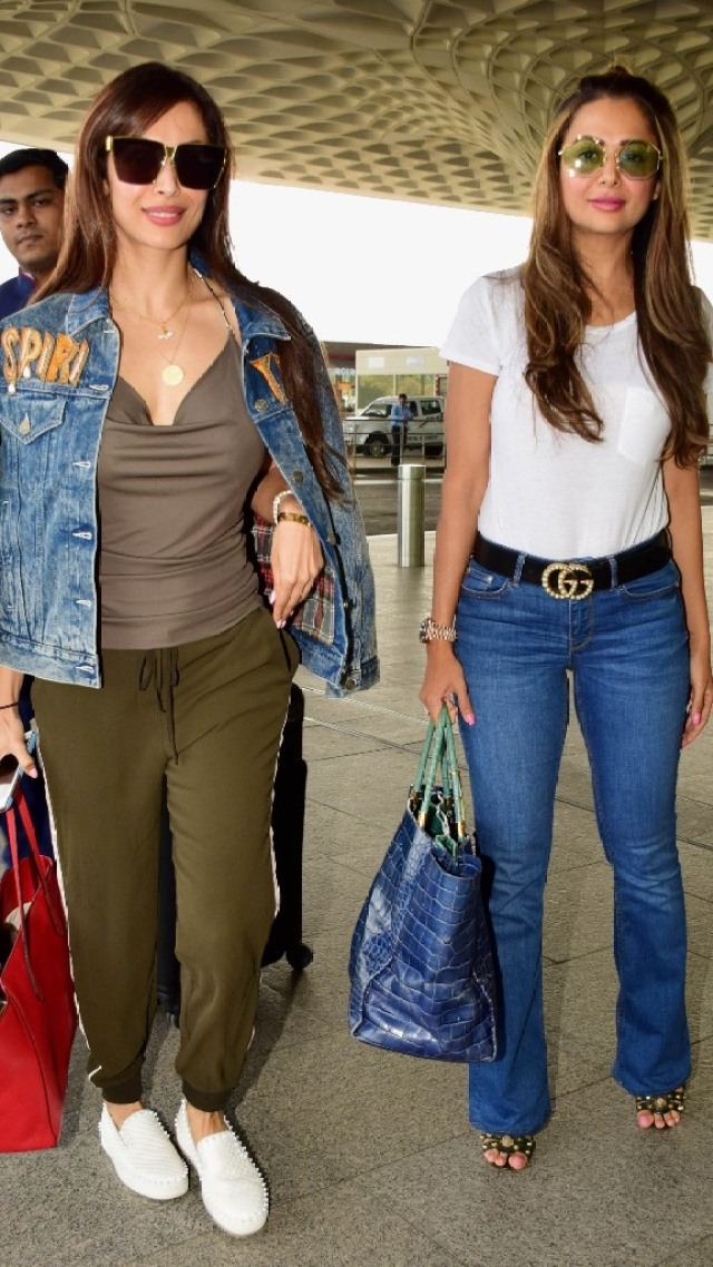 Malaika Arora and Amrita Arora spotted as they leave for Goa.