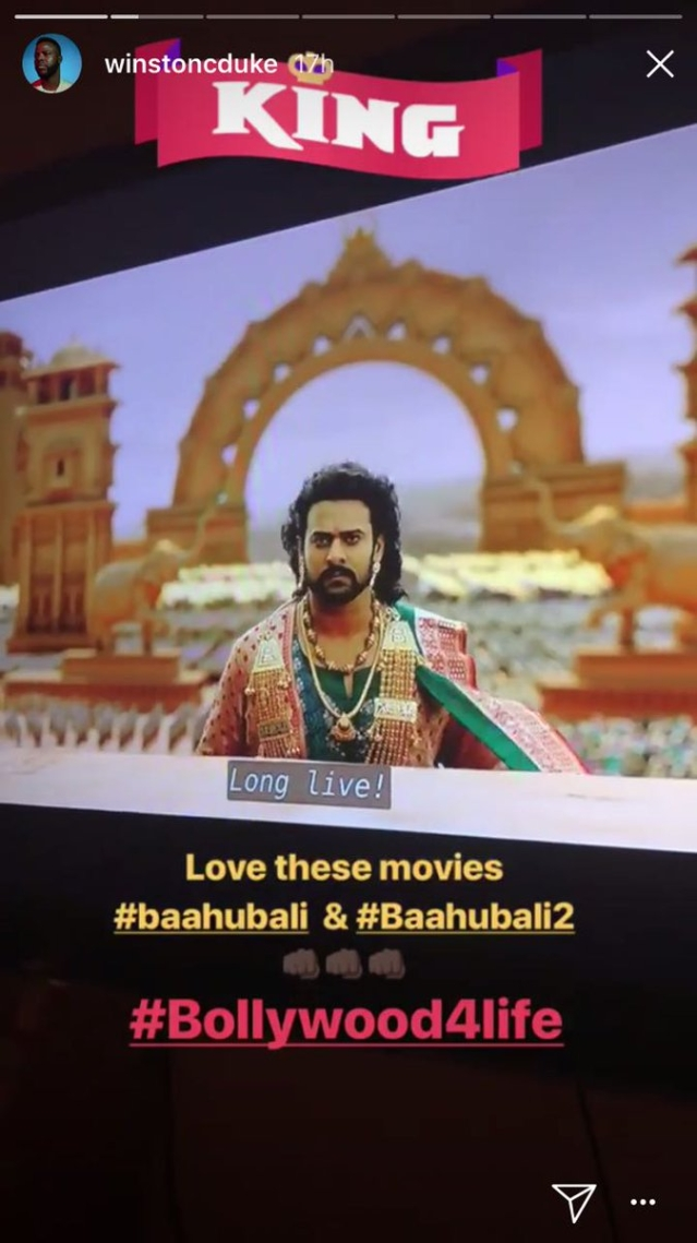 Calling Prabhas one of his favorite, Duke shared pictures from the film as he watched it yet again.