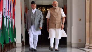Nepalese Prime Minister KP Oli (left) and Indian Prime Minister Narendra Modi during the former's visit to India.