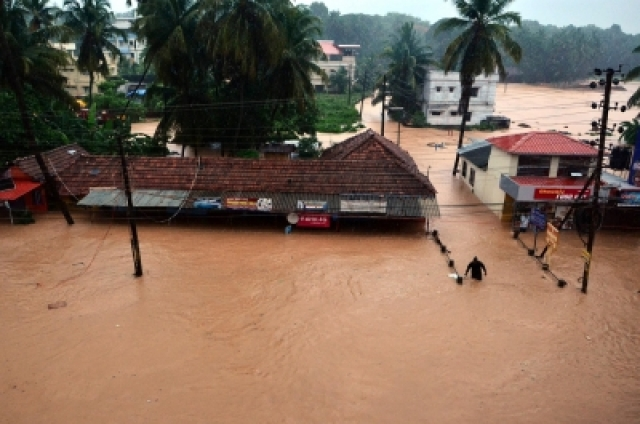 Mangaluru: A view of flooded roads of Mangaluru after heavy rains as monsoon entered early to the Karnataka on 29 May  2018.
