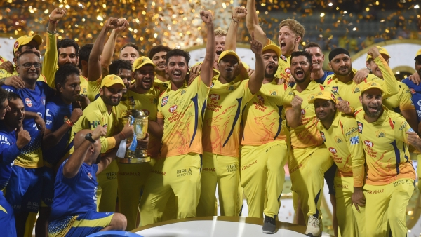 Chennai Super Kings players celebrate with the IPL 2018 trophy after winning the final against Sunrisers Hyderabad in Mumbai on Sunday.