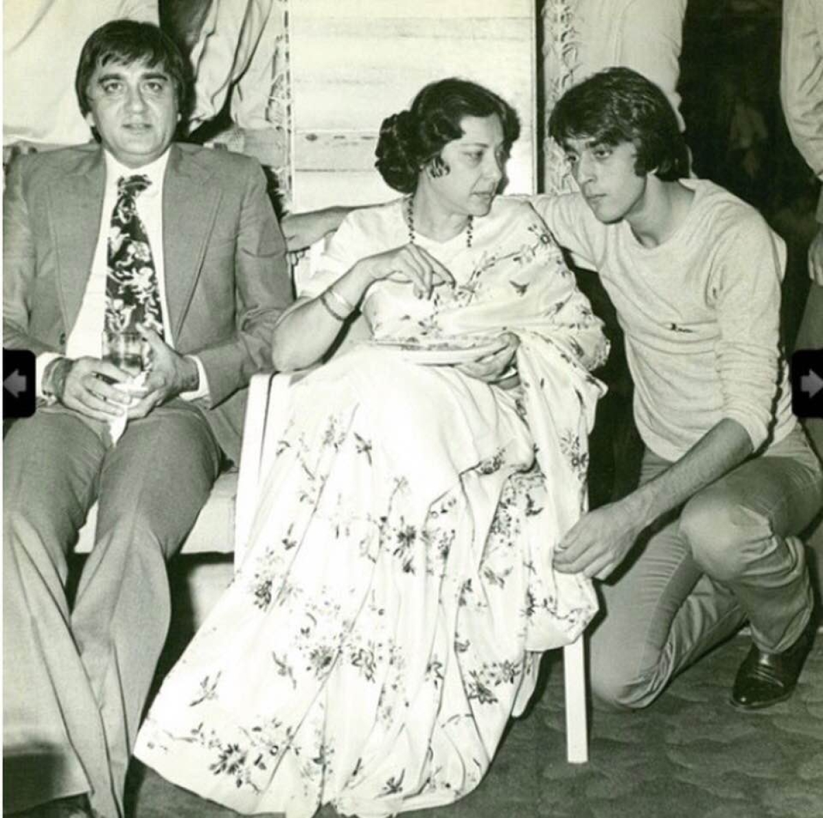 Sunil, Nargis and Sanjay at an event.