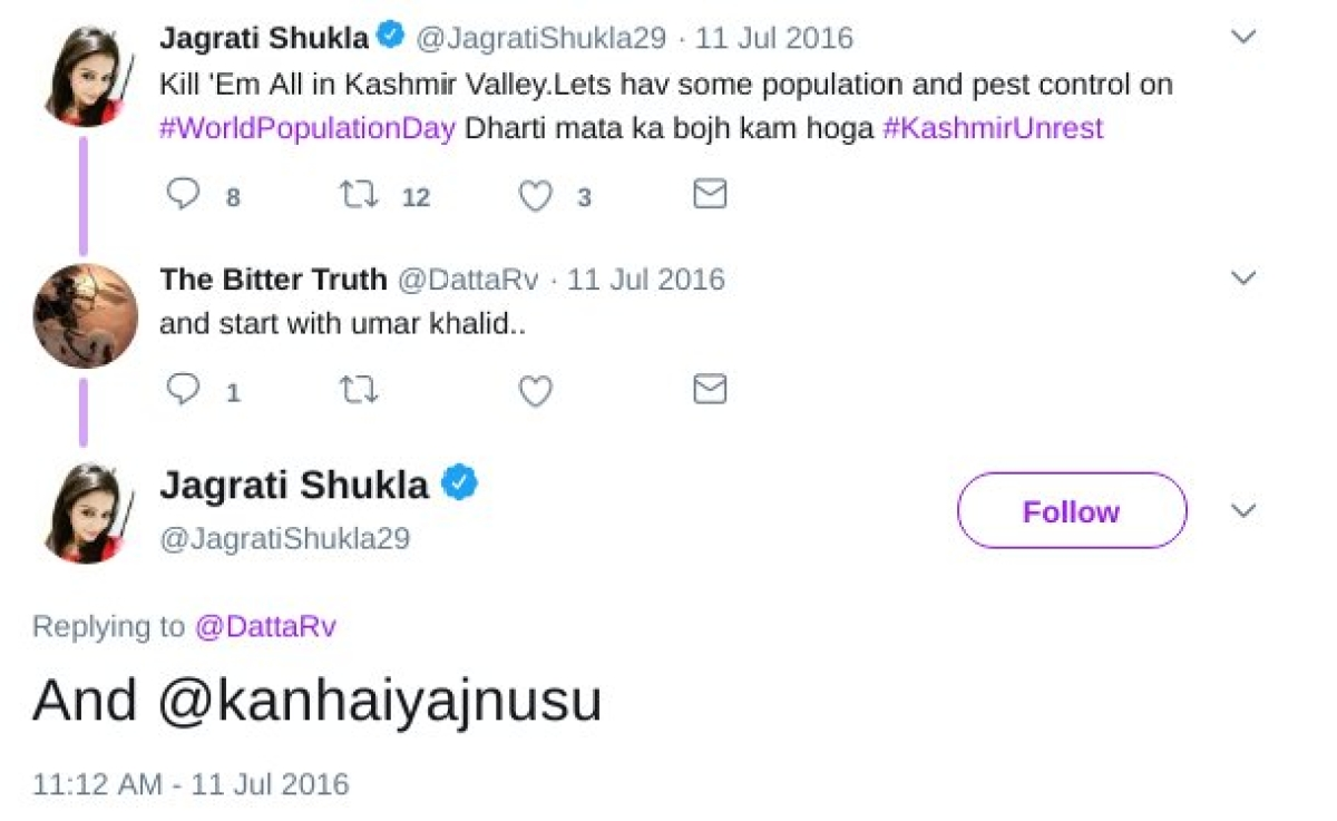 Jagrati Shukla suggesting killing of Kanhaiya Kumar.