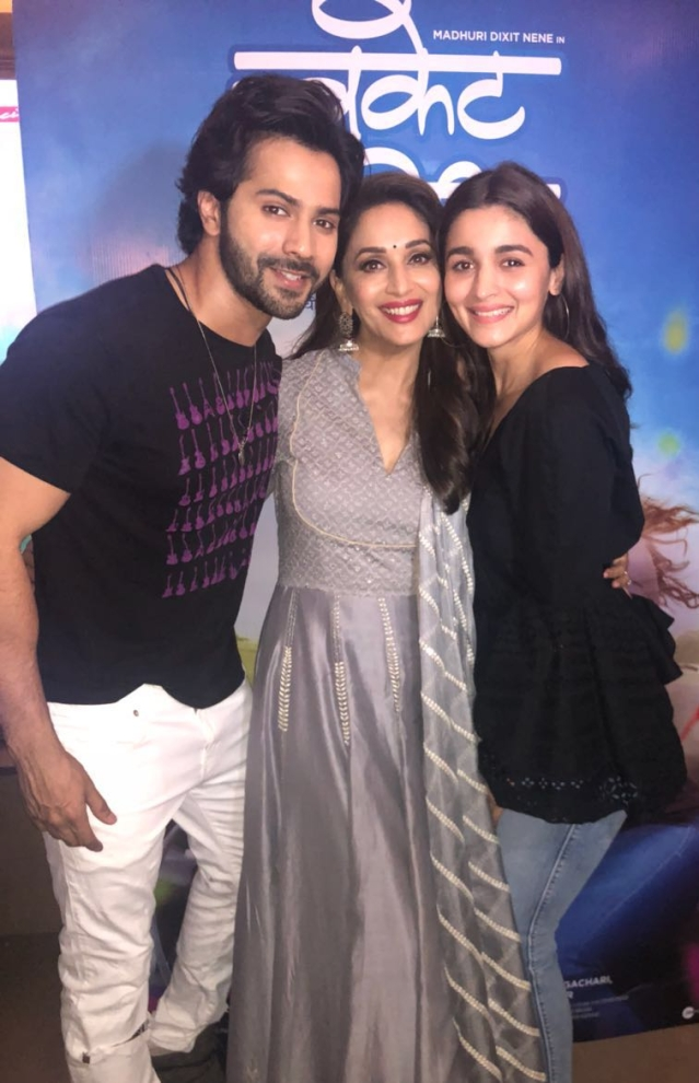 Varun and Alia with Madhuri at the screening.