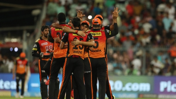 SRH players celebrate after winning the play-offs against KKR in Eden Gardens