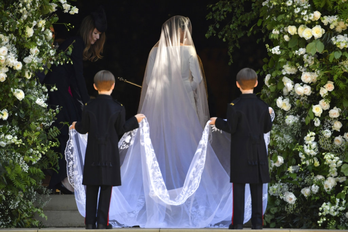 Meghan Markle arrives for her wedding ceremony at St. George's Chapel in Windsor Castle in Windsor, near London, England, Saturday, May 19, 2018.