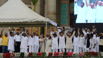 Opposition leaders, including Congress' Sonia Gandhi and Rahul Gandhi, SP's Akhilesh Yadav, AP CM Chandrababu Naidu, WB CM Mamata Banerjee, RJD's Tejashwi Yadav, CPI(M)'s Sitaram Yechury, NCP's Sharad Pawar, and newly sworn-in Karnataka CM HD Kumaraswamy at the Vidhana Soudha in Bengaluru.