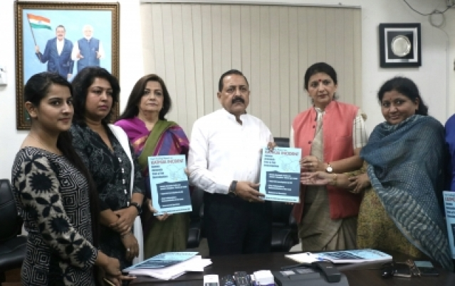New Delhi: Fact finding team members Supreme Court advocate Monika Arora, GIA (Group of Intellectuals and Academicians) co-convener Lalita Nijhawan, social activist Monicca Agarwal and journalist Sarjana Sharma hand over a fact finding report in the Kathua rape incident to Union MoS Development of North Eastern Region Jitendra Singh in New Delhi on May 4, 2018. (Photo: IANS)