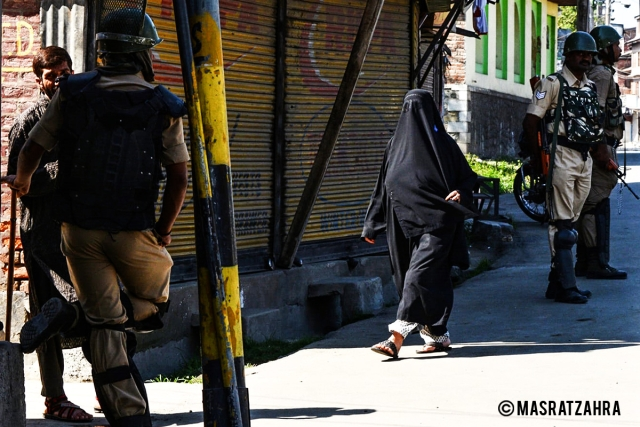 The photo was taken during restrictions imposed near Jamia Masjid on 18 September 2017.