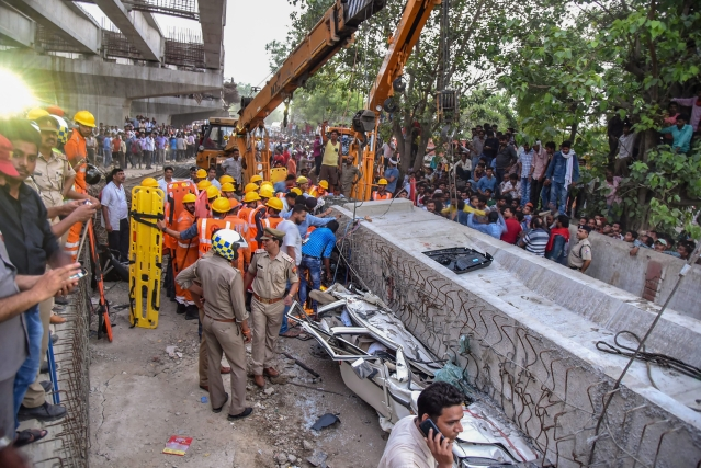 Several bodies were recovered from the rubble of the collapsed flyover
