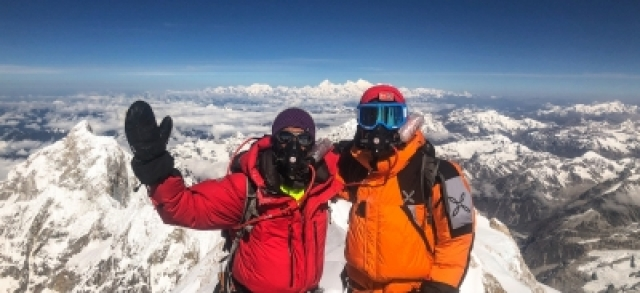 Mountaineer Arjun Vajpai (left) at the Kanchenjunga summit.
