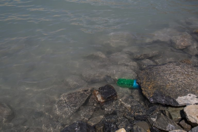 Plastic waste in Gangapurna Glacier Lake in Manang in 2018.