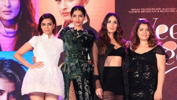 Squad Power: The Veeres stick together at the music launch of their upcoming film.
