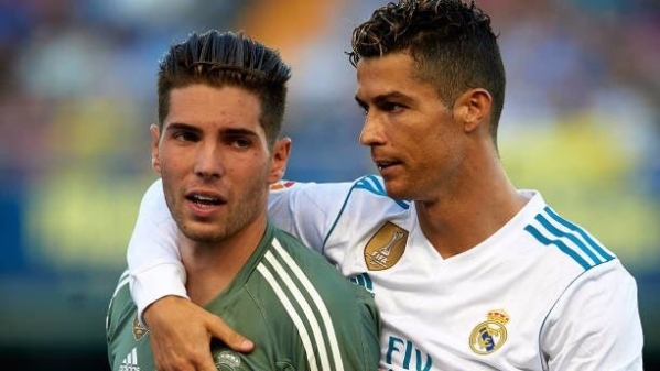 Luca Zidane (left) seen here with Cristiano Ronaldo on Sunday against Villareal.