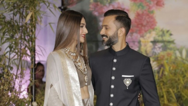 Sonam Kapoor and Anand Ahuja on the day of their wedding reception held on 8 May in The Leela Hotel, Mumbai.
