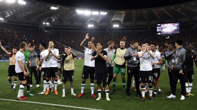 Liverpool players applaud the supporters at the end of the Champions League semifinal second leg soccer match between Roma and Liverpool at the Olympic Stadium in Rome, Wednesday, May 2, 2018.