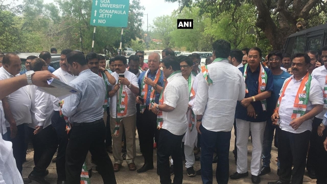 Congress MLAs at Raj Bhavan, Goa.