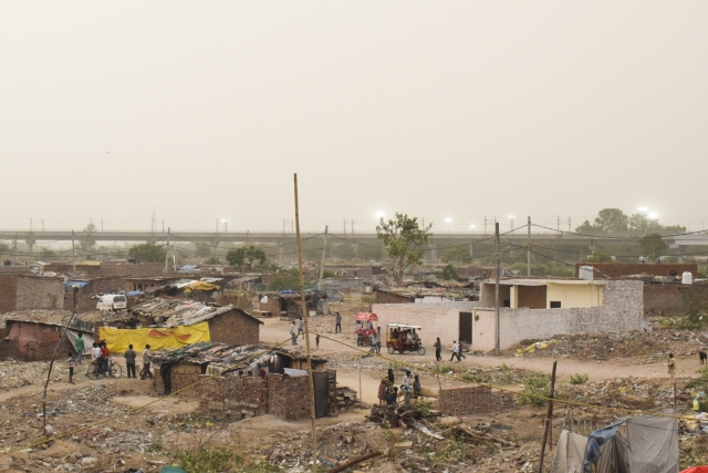 Refugees camp near Kalindi Kunj.