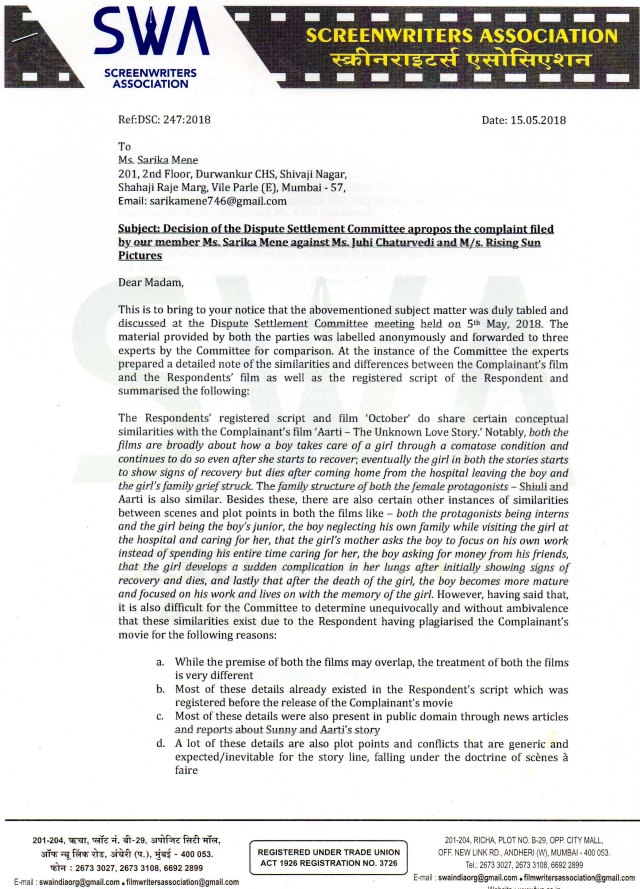 A copy of the decision of the dispute settlement committee [Source: The Quint]