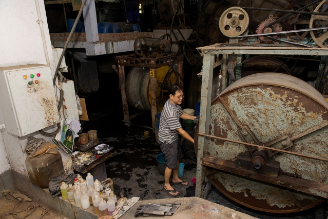 Victor Chu, 46, a Chinese-Indian of Hakka origin, works in his tannery at Bantala Leather Complex .