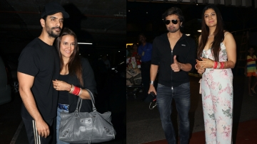 Angad Bedi and Neha  Dhupia, and Himesh Reshammiya and Sonia Kapoor at the Mumbai airport.