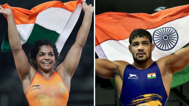 Sakshi Malik (left) and Sushil Kumar (right) are India's only Olympic medallists in wrestling since 1952.