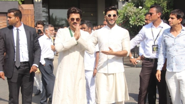 Anil Kapoor and Ranveer Singh greet the media.