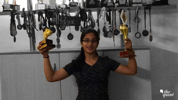 Adya with all her trophies.