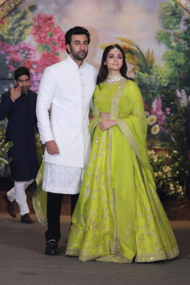 Ranbir Kapoor and Alia Bhatt made an appearance at Sonam Kapoor's reception.