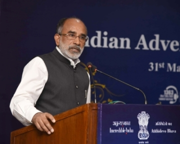 New Delhi: Union MoS for Tourism (I/C) Alphons Kannanthanam addresses at the launch of the Indian Adventure Tourism Guidelines, in New Delhi on May 31, 2018. (Photo: IANS/PIB)