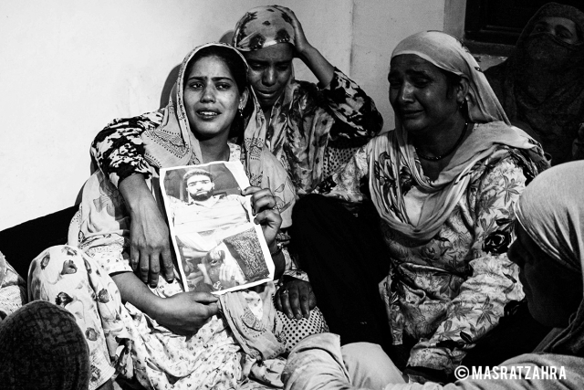 Ruksana mourns the death of her husband Firdous Ahmad khan, a civilian, who was killed in an encounter operation to nab LeT commander Abu Dujana, Srinagar.