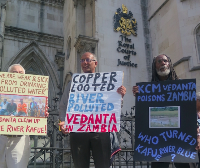 Protestors against KCM and Vedanta outside the Royal Courts of Justice, London