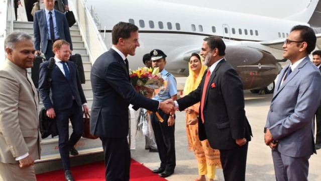 Union Minister of Food Processing Harsimrat Kaur Badal welcomes Prime Minister of Netherlands Mark Rutte in New Delhi, on Thursday, 24 May.