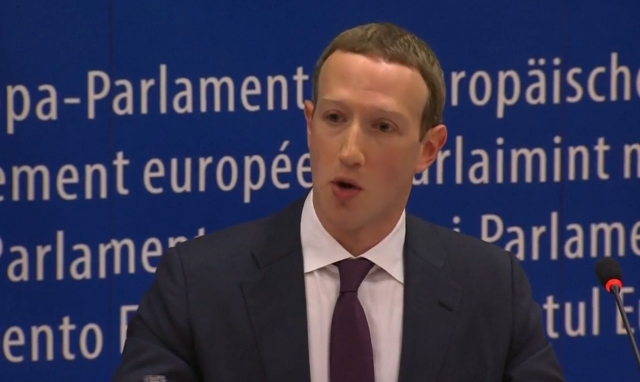 Mark Zuckerberg answering questions in EU parliament.