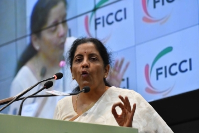 New Delhi: Defence Minister Nirmala Sitharaman addresses during launch of Gender Parity Index report in New Delhi on May 7, 2018. (Photo: IANS)