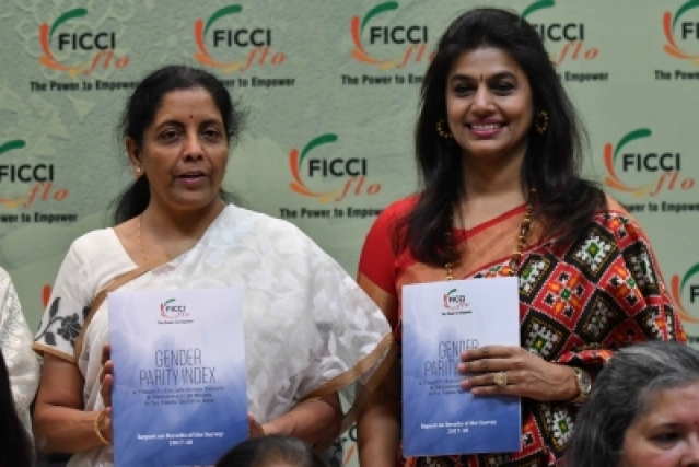 New Delhi: Defence Minister Nirmala Sitharaman with  Pinky Reddy, President of FICCI Ladies Organisation (FLO) at the launch of Gender Parity Index report in New Delhi on May 7, 2018. (Photo: IANS)