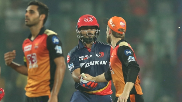 Kane Williamson of the Sunrisers Hyderabad shakes hand with Rishab Pant of the Delhi Daredevils after he completes a century at the Feroz Shah Kotla Ground.