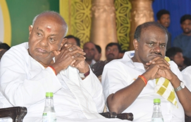 Mysuru: JD(S) Supremo HD Deve Gowda and Karnataka CM HD Kumaraswamy.