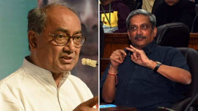 Digvijay Singh's (L) attempts to secure Goa for the Congress were thwarted by Manohar Parrikar (R) of the BJP who was sworn in as Chief Minister
