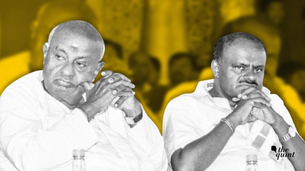 CM HD Kumaraswamy (right) with his father HD Deve Gowda.