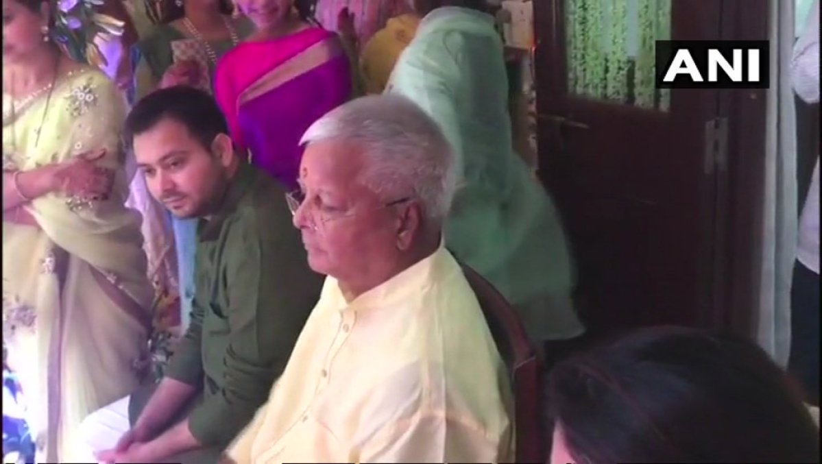 Lalu Prasad Yadav and his younger son Tejashwi Yadav at Tej Pratap Yadav's Haldi