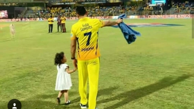 Dad Dhoni gives Ziva a tour of the Wankhede Stadium.