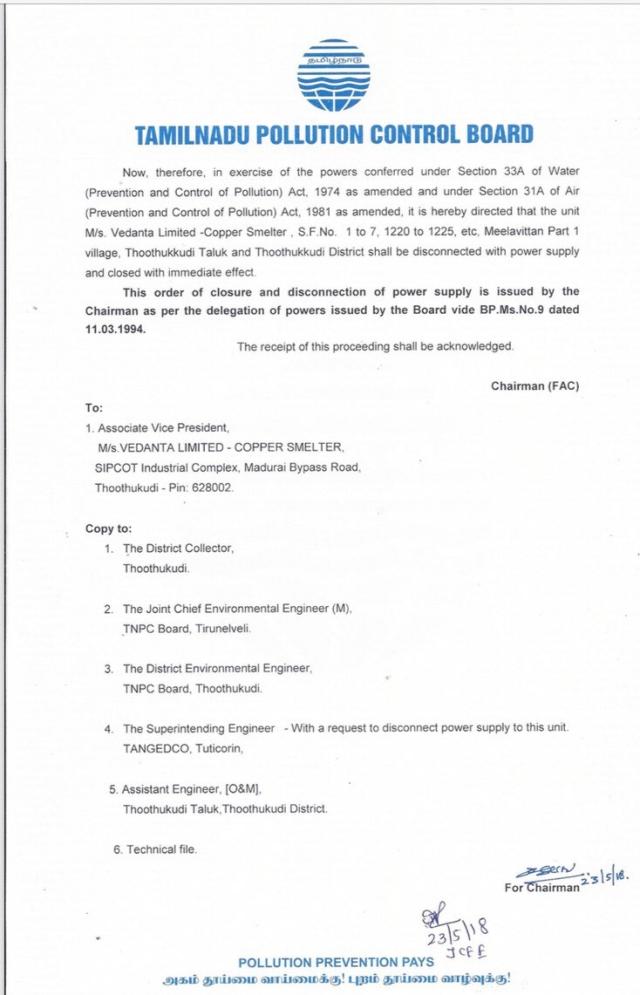 A Copy of the Tamil Nadu Pollution Board Order.