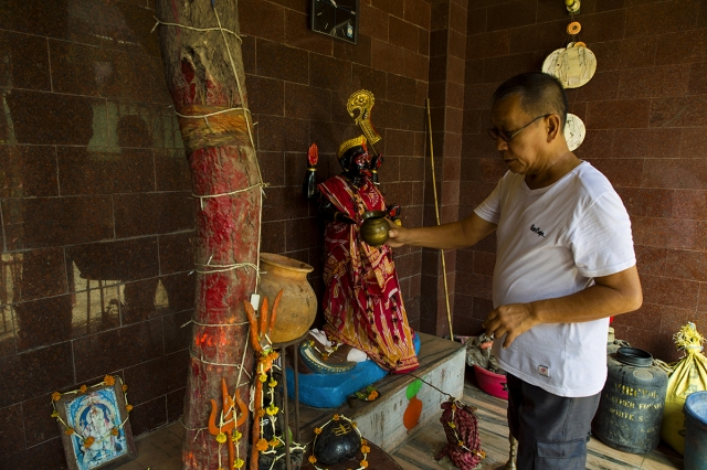 "Chen-I-Sheng, 65, a Chinese-Indian from a Buddhist family, worships Hindu goddess Kali.""I gave up eating beef when I started offering prayers to goddess Kali,"" he says."